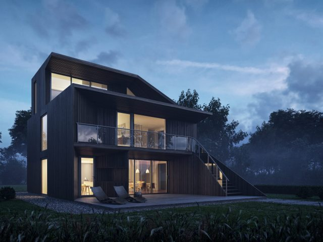 helen evening modern wooden house morning mood exterior 3d visualization