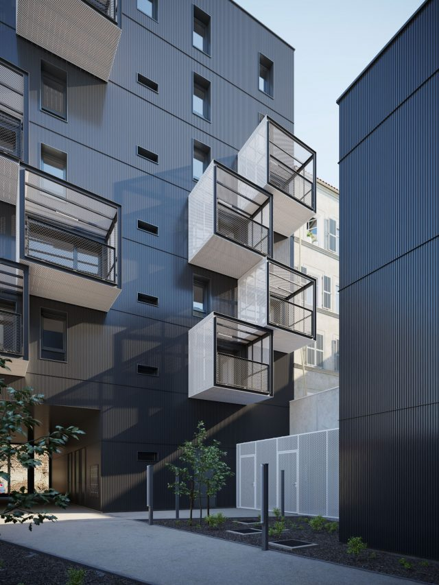 Social housing by Atelier du Pont evening visualization